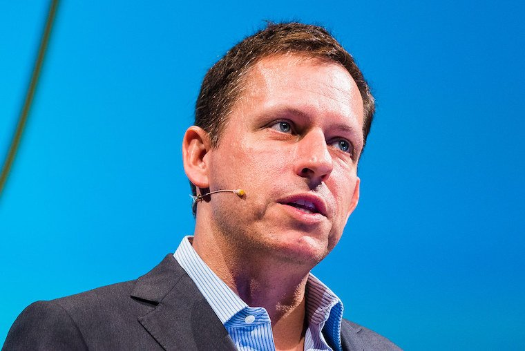 Peter Thiel speaks at an event