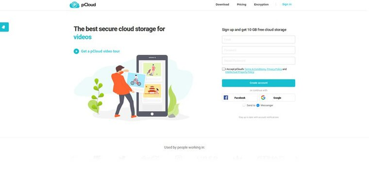 pCloud website