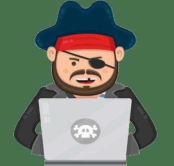 Cartoon pirate downloading on laptop