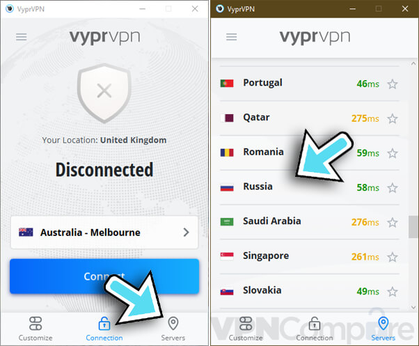 VyprVPN connecting to Russia