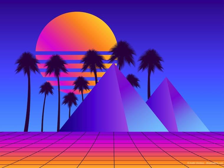 Retro futurism pyramids with palm trees.