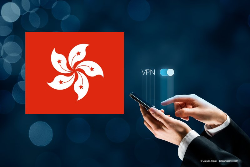 Hong Kong flag and VPN concept