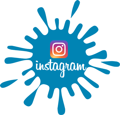 Instagram logo in blue paint splat