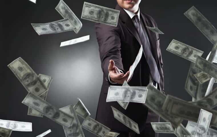 Man throwing money