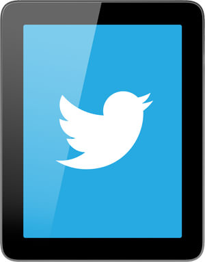 Twitter logo on tablet