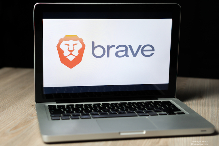 Brave browser logo on a laptop screen