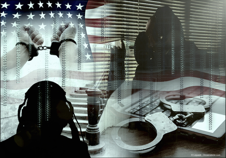 Collage of images representing government spying in the USA