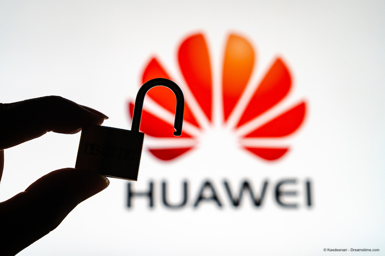 Huawei logo with a silhouette of a hand holding a padlock