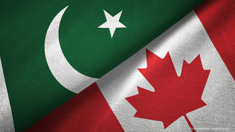 Pakistan and Canada two flags textile cloth, fabric texture
