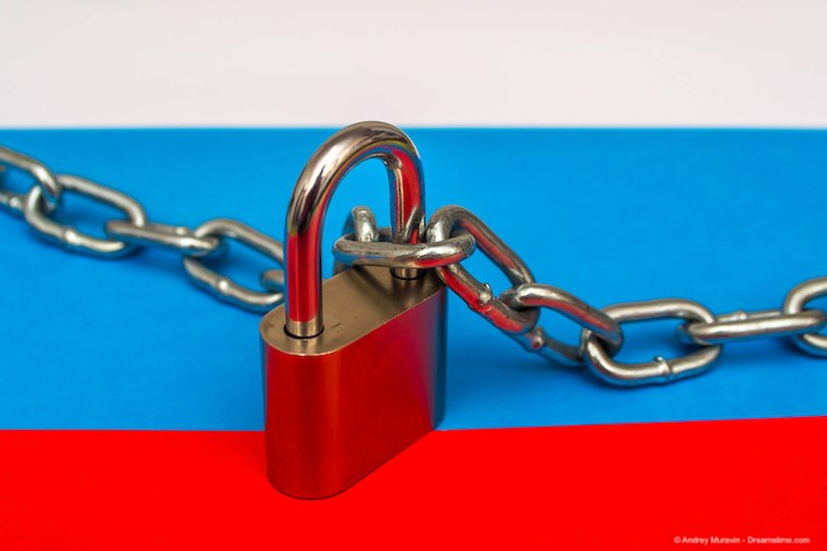 Flag of Russia and a lock
