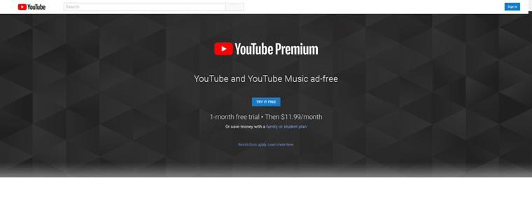 YouTube Premium website
