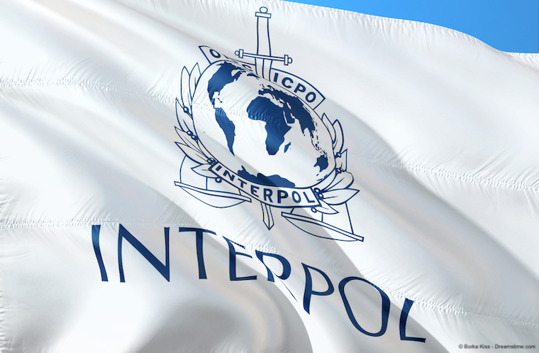 Interpol flag waving in the wind