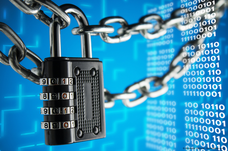 Padlock on binary code - online security concept