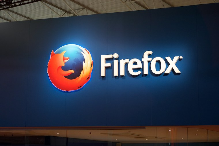 Firefox logo at Mobile World Congress 2015 Barcelona