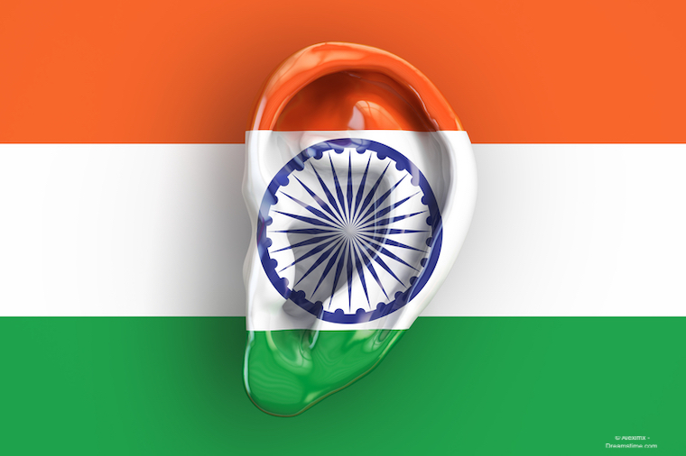 Indian intelligence concept, ear on the flag of India.