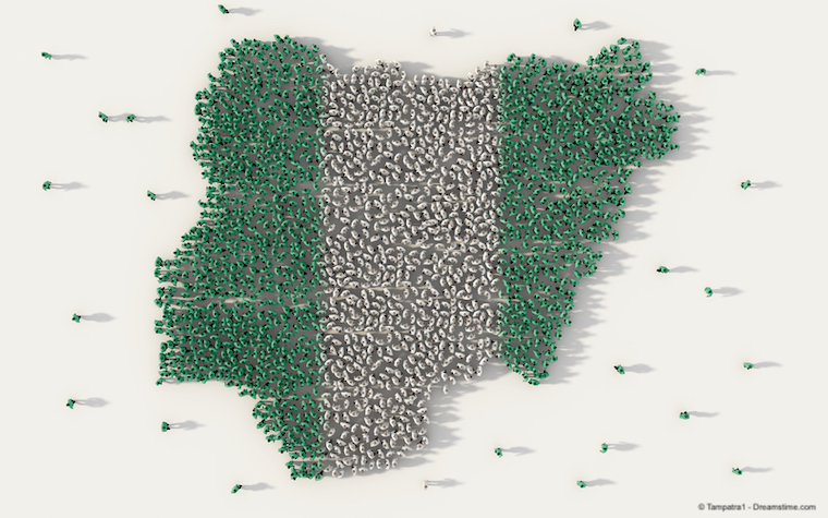 Large group of people forming Nigeria map and national flag in social media and communication concept