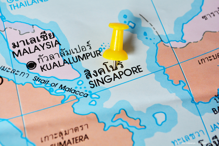 Pin in a map of Singapore
