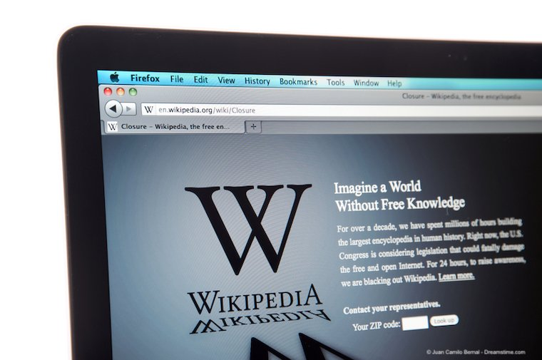 Wikipedia website during internet blackout