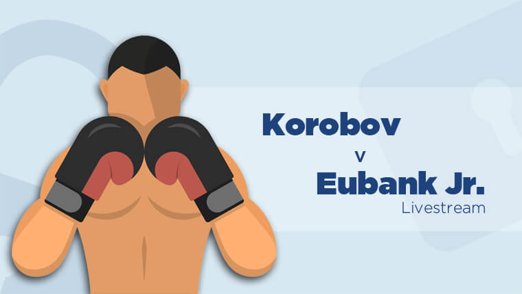 Boxer with text Korobov v Eubank Jr. text