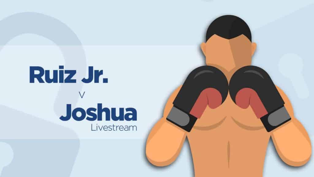 Illustration of boxer with text Ruiz v Joshua