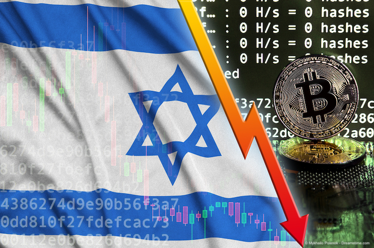 Israel flag and falling red arrow on bitcoin mining screen and two physical golden bitcoins