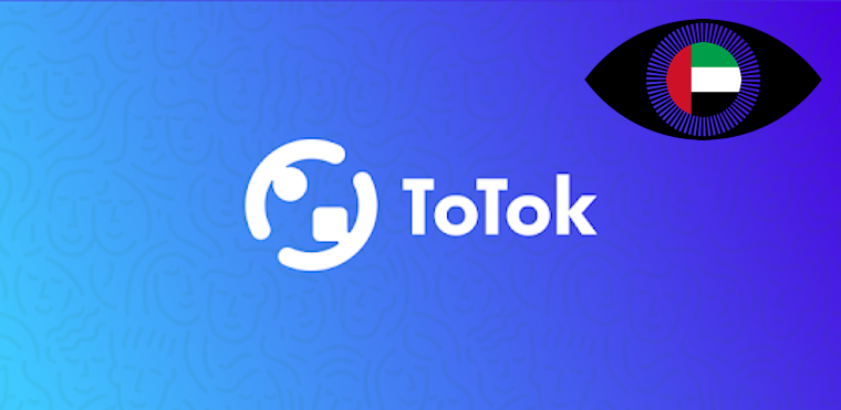 Totok logo with surveillance eye and UAE flag