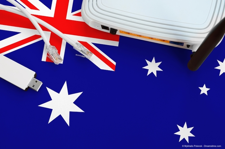 Australia flag depicted on table with internet rj45 cable, wireless usb wifi adapter and router.