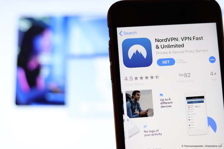 NordVPN app on smartphone