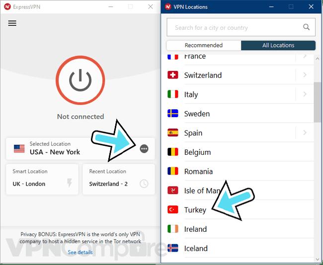 ExpressVPN app connecting to Turkey