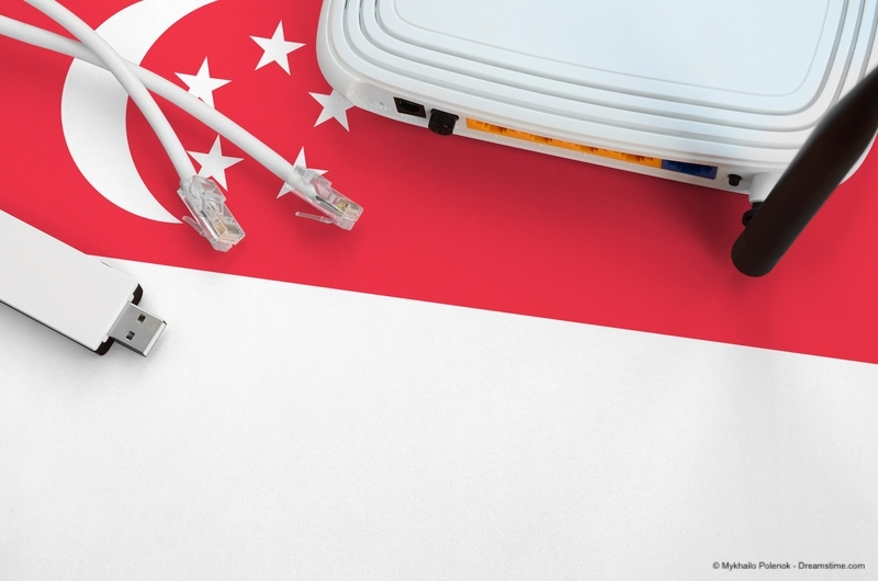 Singapore flag with Wi-Fi router on top