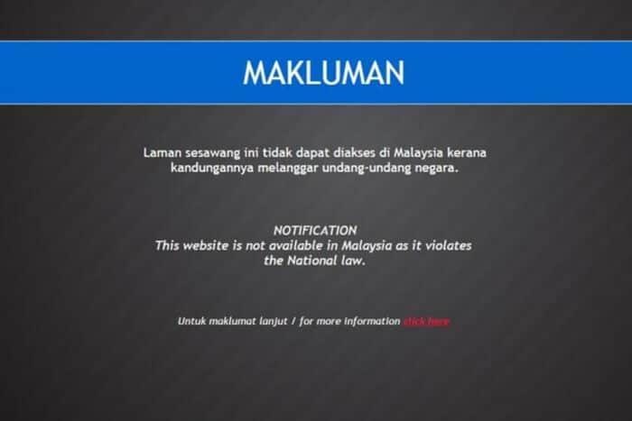 Malaysia block page