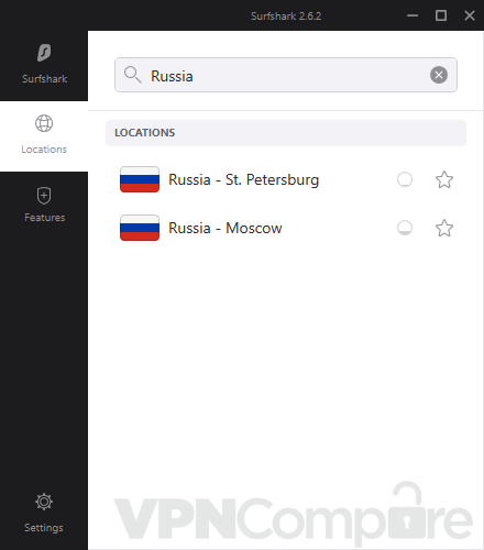 Surfshark's app connecting to Russia.