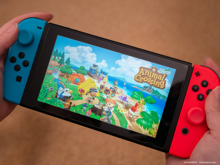 Nintendo Switch with Animal Crossing game