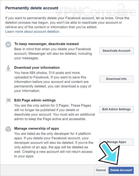 Delete Facebook setting