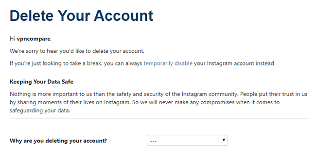 Delete instagram account option