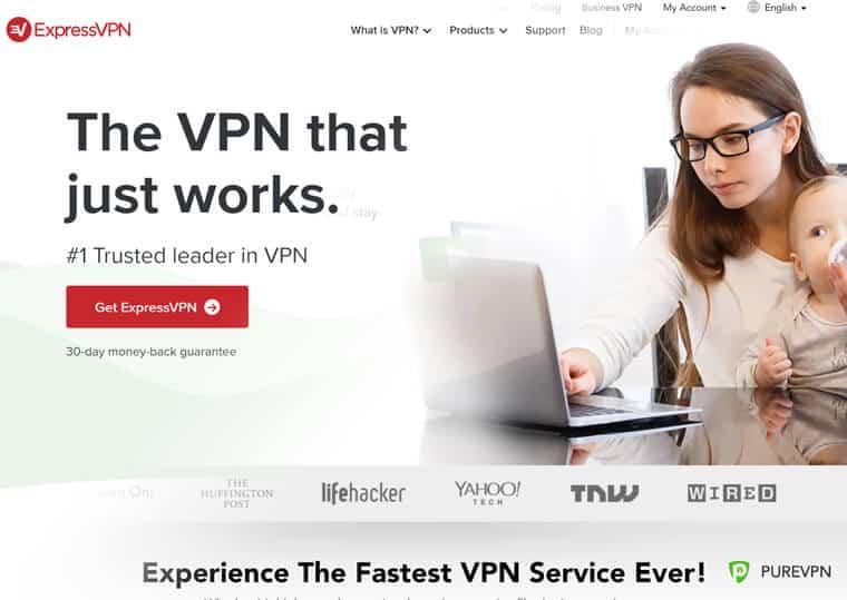 ExpressVPN and PureVPN websites