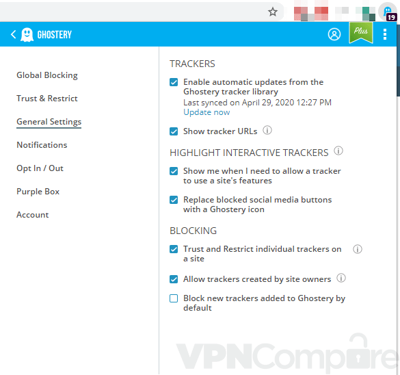 Ghostery's settings page