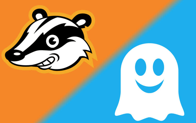 Privacy Badger and Ghostery logos