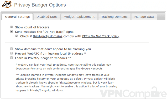 Privacy badger settings page