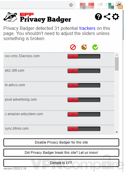 Privacy Badger interface