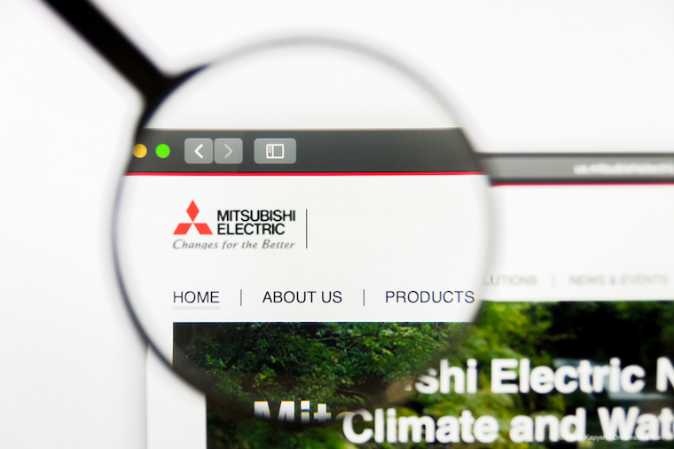 Mitsubishi Electric website under a magnifying glass