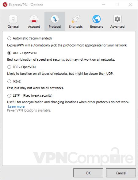 ExpressVPN app settings screen