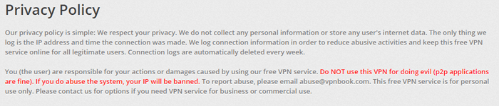 VPNBook privacy policy