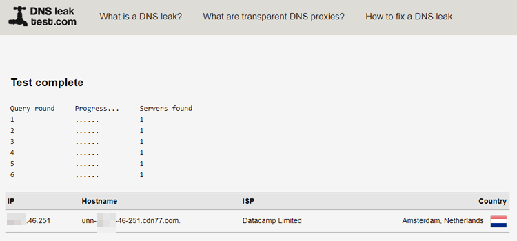 AVG DNS leak test results