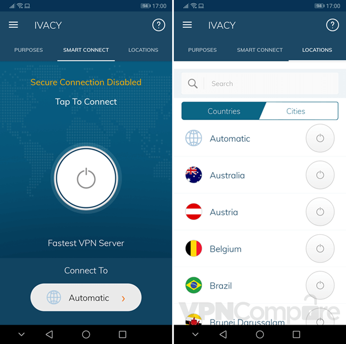 Ivacy Android app