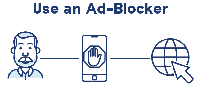 Older man with ad blocker on phone