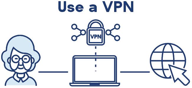 Older lady with VPN on laptop