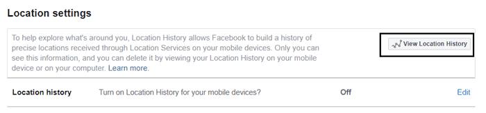 Facebook location