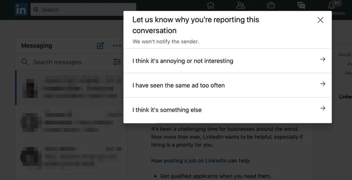 LinkedIn report message