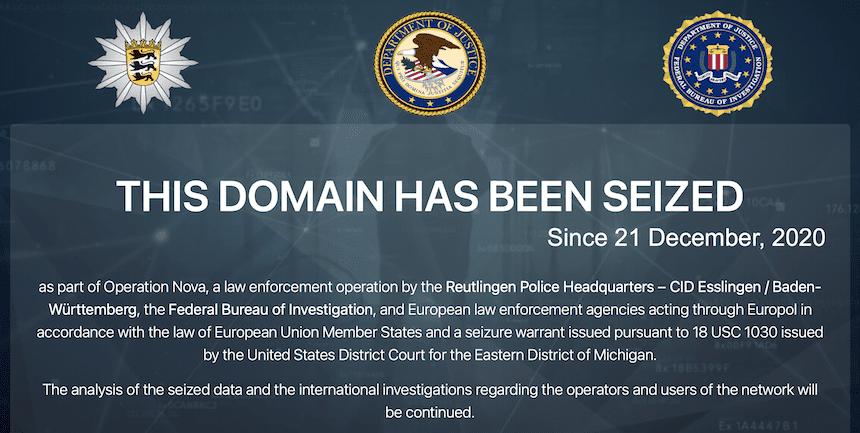 Seized website screen
